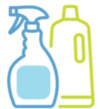 icon of bleach and spray bottle