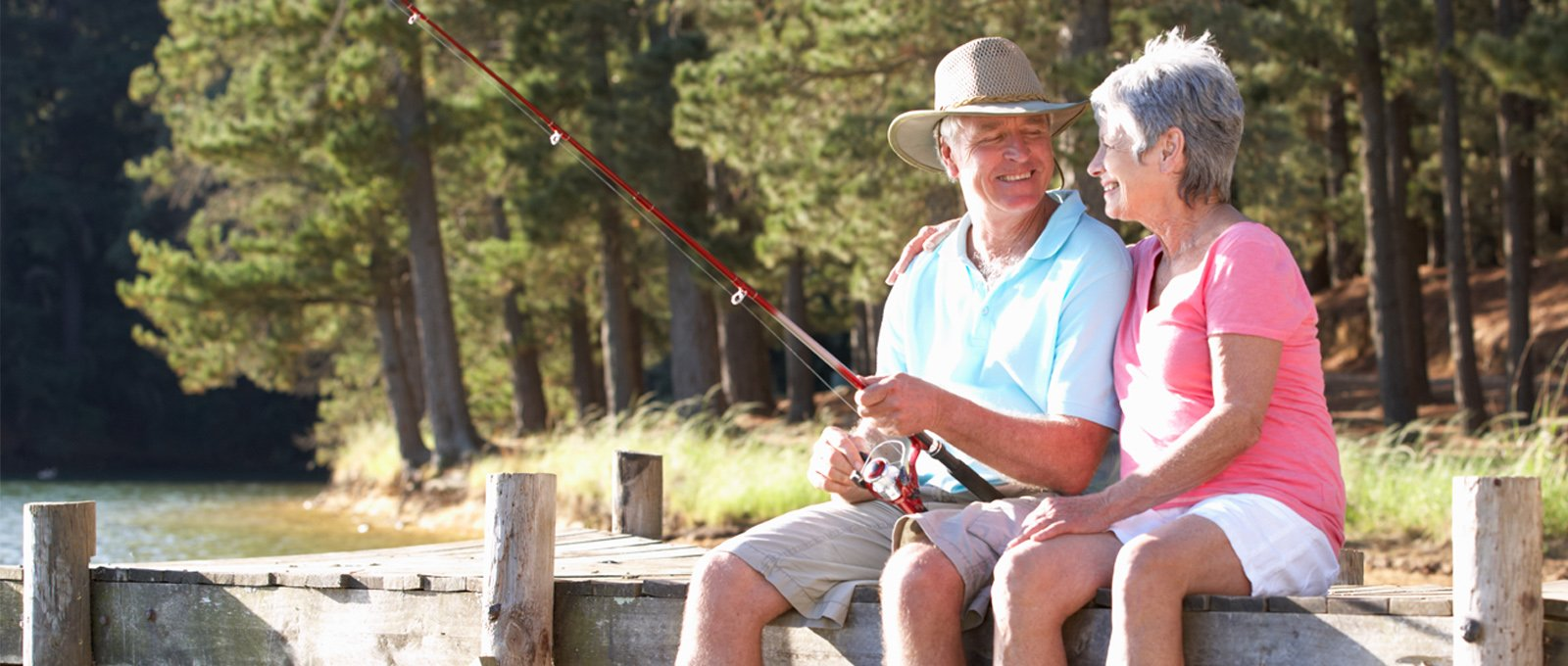 Older couple fishing