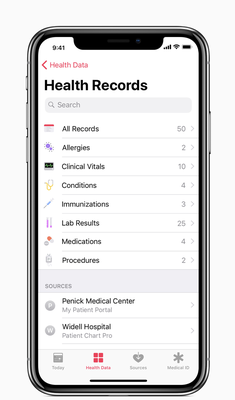 iPhone with health records app displayed