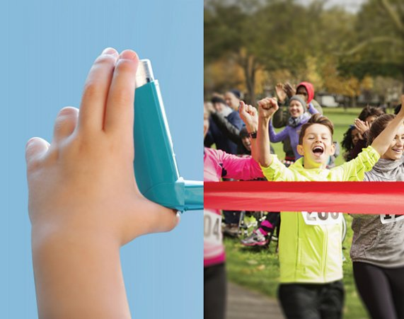 split view of asthma inhaler/child running across finish line