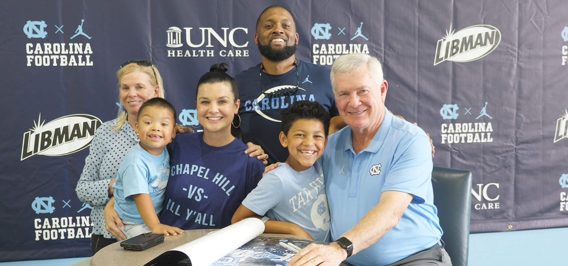 Mack Brown with UNC Children's patients