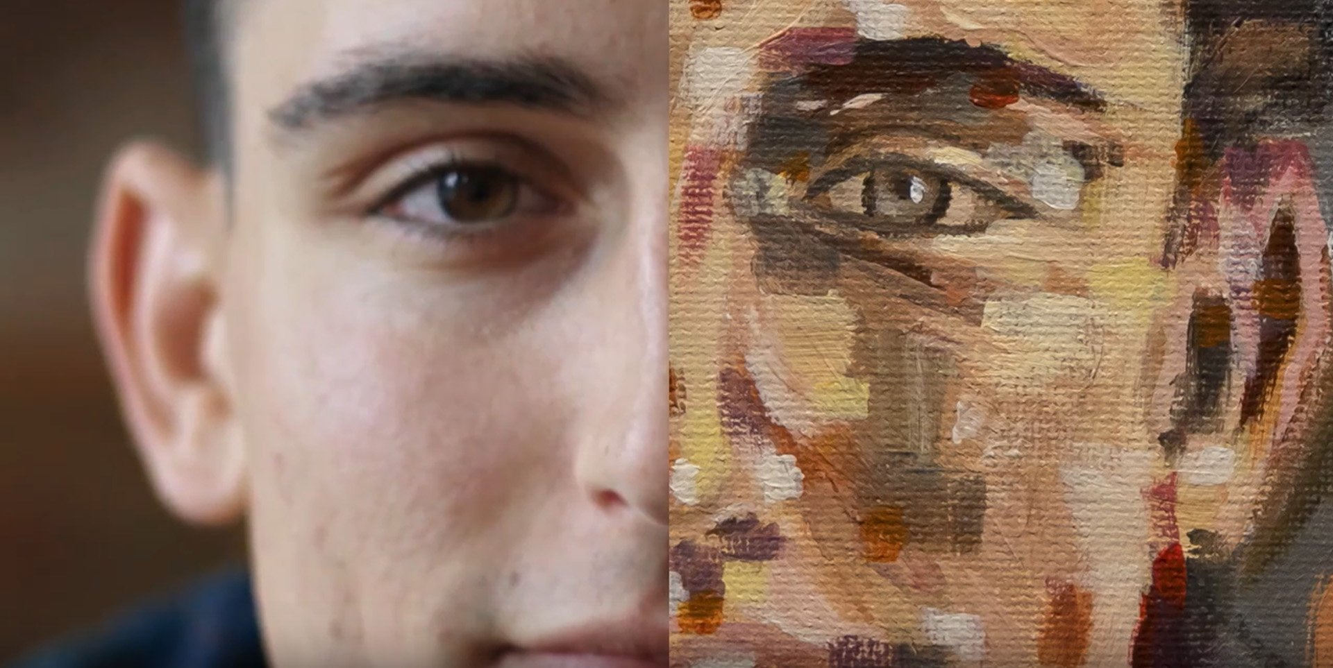 split screen of face and oil portrait